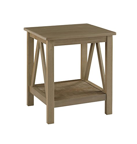 Linon Titian End Table, 20 W x 17.7 D x 22 H, Rustic Gray