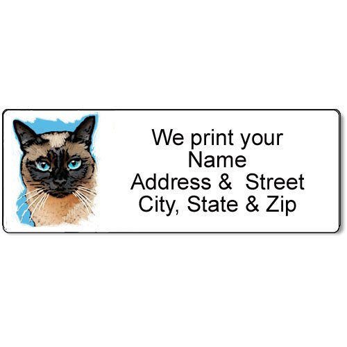 Cat Return Address Labels - Siamese Cat Address Label - Customized Return Address Label - 90 Cat Labels