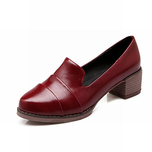 Spectacle Briller Mode Féminine Rétro Chunky Chaussures Chaussures Vin Rouge