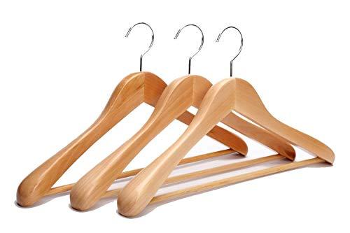 JS HANGER Extra Wide Shoulder Wooden Suit Hangers Natural Finish with Non-slip Bar, 3 Pack