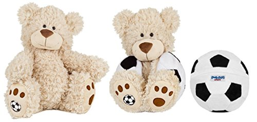 Buddy Balls Plush Teddy Bear Convertible Toy Soccer Ball-Tory, Cream/Black/White ()