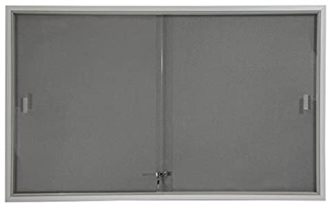 Displays2go 5 x 3 Inches Indoor Bulletin Board with Sliding Glass Doors, 60 x 36 Inches Enclosed Notice Board with Gray Fabric Interior, Aluminum - Enclosed Cork Board