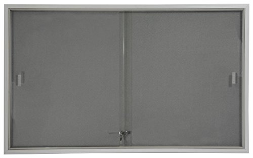 Displays2go 5 x 3 Inches Indoor Bulletin Board with Sliding Glass Doors, 60 x 36 Inches Enclosed Notice Board with Gray Fabric Interior, Aluminum (Sliding Door Cork Board)