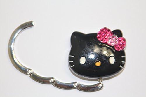 Purse Hook Purse Table Hook LOVEKITTY/® 3D Fully Blinged Rhinestones Black Face Pink Bow Foldable Hello Kitty Inspired Purse Holder Handbag Hanger