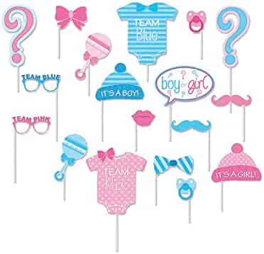 Gender Reveal Photo Booth Props on Sticks- Girls Boys Baby Shower Birthday Party- Set of Decorations for Party Favors 18 -pack