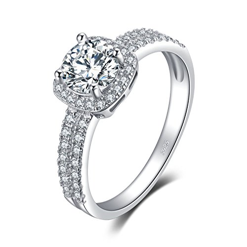 JewelryPalace Halo 1.1ct Round Cubic Zirconia Engagement Promise Ring 925 Sterling Silver Size (Round Promise Ring)