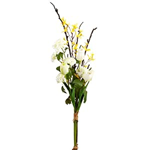 "42"" Handwrapped Tulip, Forsythia & Snowball Silk Flower Bouquet -White/Yellow (Pack of 6) 90"