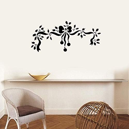 Wall Art Decal Sticker Words Wall Saying Words Removable Mural Decorative Holly and Bow for Christmas Day
