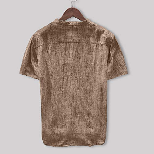 Strapless Bubble Hem Dress - Toimothcn Mens Button Down Shirt Casual Linen Cotton Long Sleeve/Short Sleeve Retro Top Blouse(Khaki1,L)