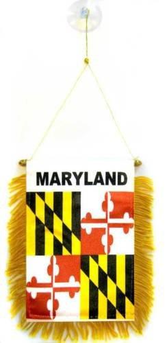 """State of Maryland Mini Flag 4/""""x6/"""" Window Banner w// suction cup"""