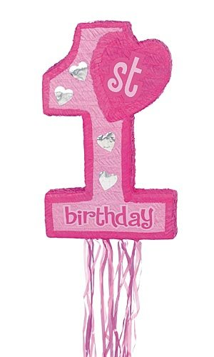 Pink 1st Birthday Pull String Pinata for $<!--$16.86-->
