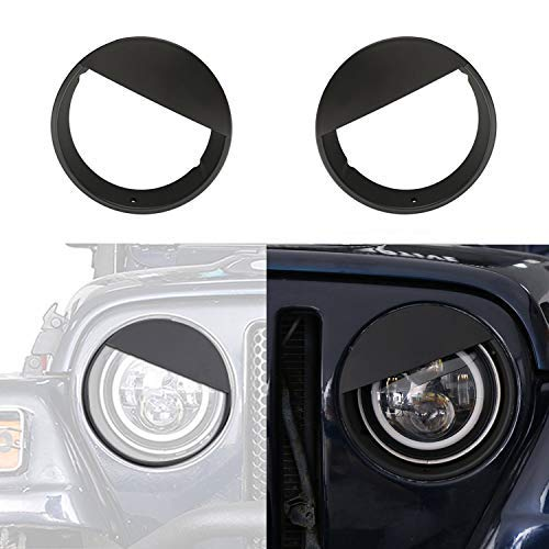 Hooke Road Black Angry Bird Headlight Covers Bezels for 1997-2006 Jeep Wrangler TJ & Unlimited -Pair