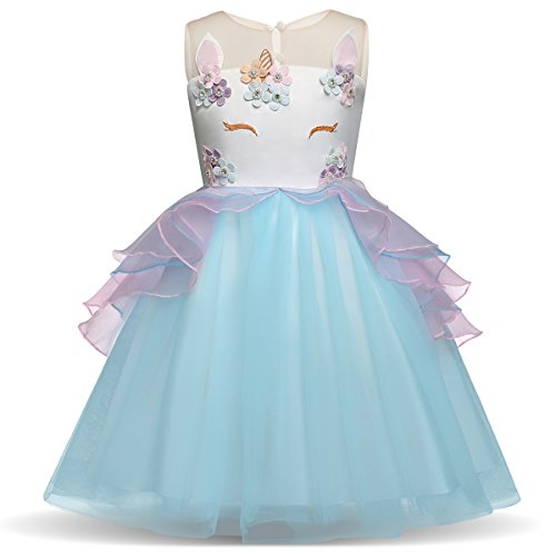 AiMiNa Girl Unicorn Party Dress Cosplay Princess Birthday Party Dress-up Age of 9-10 Years(Blue) -