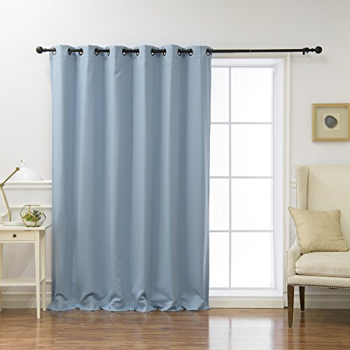 Best Home Fashion Wide Width Thermal Insulated Blackout Curtain - Antique Bronze Grommet Top - Sky Blue - 80