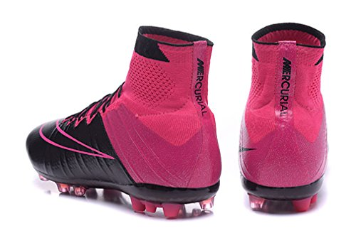 Herren Mercurial superfly fg Leder ag-blackblack-hyper pink-pink Powder, Hi Top Fußball Schuhe Fußball Stiefel