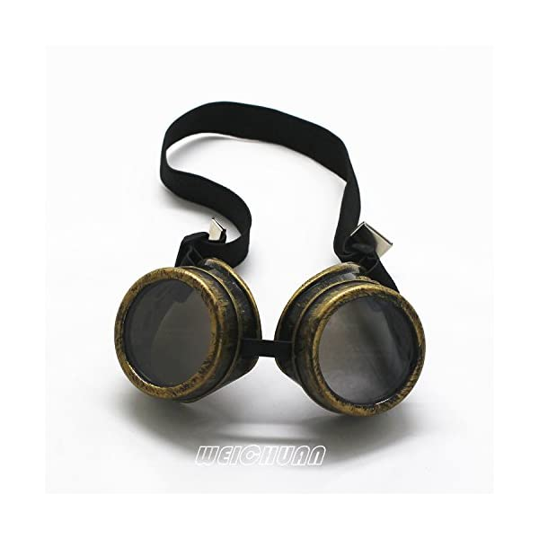 WEICHUAN New Sell Vintage Steampunk Goggles Glasses Cosplay Cyber Punk Gothic(Black) 7