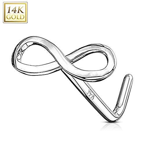 Covet Jewelry 14Kt. Gold L Bend Nose Ring Infinity Sign End (White Gold) ()