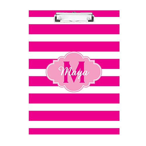 Pretty in Pink Striped Monogrammed Double Sided Hardboard Clipboard Monogrammed Clipboard