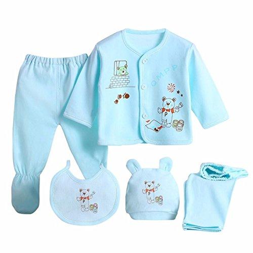 e8abe9a199 Babywow 5PCS Newborn 0-3M Boys Girls Baby Cotton Clothes Tops Hat Pants  Sleepwear Suit. Tap to expand
