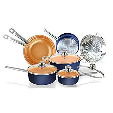 11pc Navy Blue copper ceramic coated pots and pans cookware set nonstick ceramic copper pans with induction base & oven safe cookware sets with lids