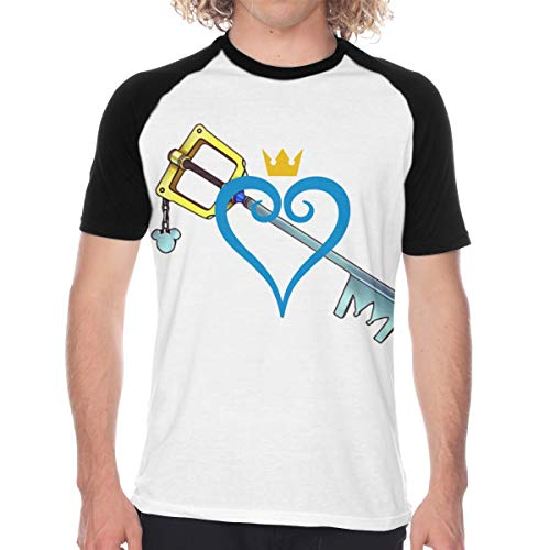 CUSARTSHOP Men's Raglan Baseball T-Shirt, Heart and Sword Black
