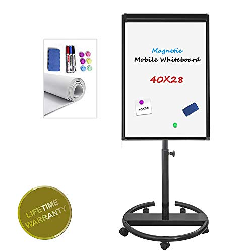 Magnetic Whiteboard Mobile Dry Erase Board 40x28inch Flipchart Easel Stand White Board with Markers, Magnets, Eraser, Paper Sheet (Black)