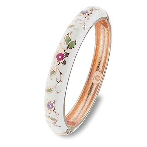 UJOY Vintage Bracelet Colorful Cloisonne Women Girls Hinged Bangles Enameled Bracelets Jewelry Gifts 55A82 White
