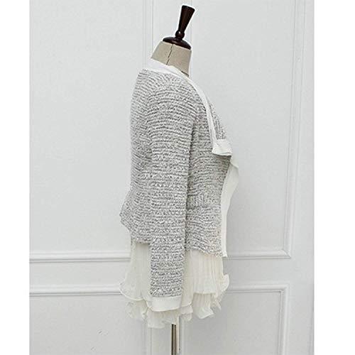 Lunga Anteriori Tasche Autunno Bavero Confortevole Blazer A Slim Donna Corto Grau Manica Fit Marca Da Maglia Mode Moda Elegante Di Giacca Tailleur Cappotto 7xqwTgU