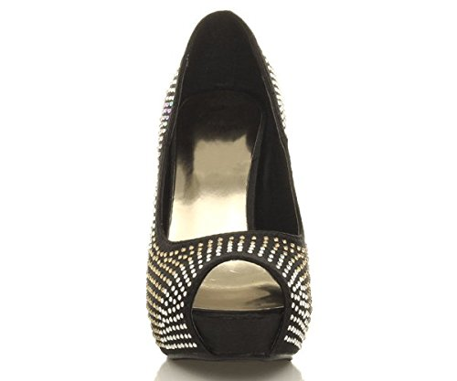 Ajvani - Zapatos de vestir para mujer Negro - Black Diamante Satin