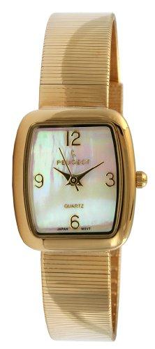 (Peugeot Women's PQ13629G Gold-Tone Spiral Mesh Bracelet Watch)