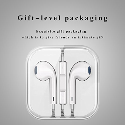 Cafetec - [2 Pack][White][Premium Earbuds][Stereo Headphones][Noise Isolating][Headset Made] - Earphones Microphone - (Model iPhone iPod iPad) by Cafetec (Image #5)