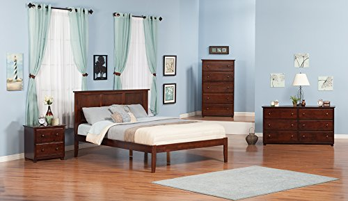 Atlantic Furniture Madison Platform Bed with Open Foot Board, King, Walnut - Open Footrail design instills limitless comfort Sustainably Sourced Solid Hardwood with Non-Toxic Finish Designed for Lasting Durability - bedroom-furniture, bedroom, bed-frames - 41mmSUU0lkL -