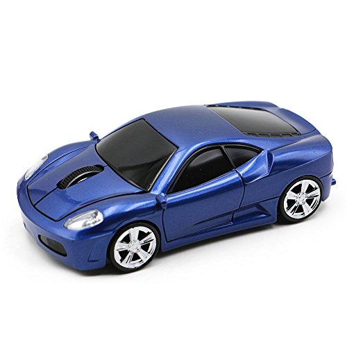 Wireless Mouse Sport Car Mouse Computer Optical Mice for PC Laptop MAC with LED Light (Blue)