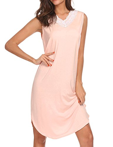 Lace Trim Chemise Rose (Ekouaer Sleep Dress for Women Soft Nightgwear Lace Trim Chemise Nightgown (Misty Rose,M))