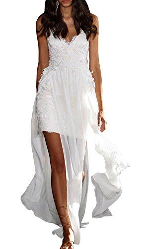 DAPENE® Womens New V-neck Straps Hi-Lo Beach Wedding Gown White