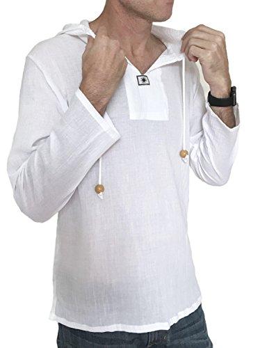 White Clothing Hood (Men's Sun Hoodie Hippie Shirt 100% Cotton Top (XXX-Large, White))
