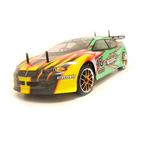 ALEKO RCC94102GREEN 4WD Nitro Powered On-Road Racing Car (1:10 Scale)
