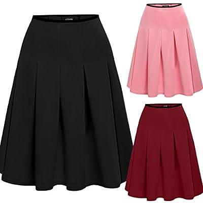 ACEVOG Women's Basic Solid Versatile Stretchy Flared Casual Mini Skater Skirt