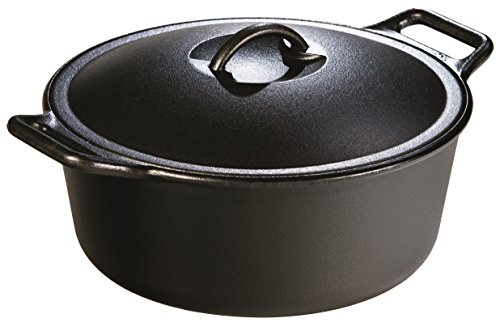 Lodge Pro-Logic P12D3 Cast Iron Dutch Oven, Black, 7-Quart