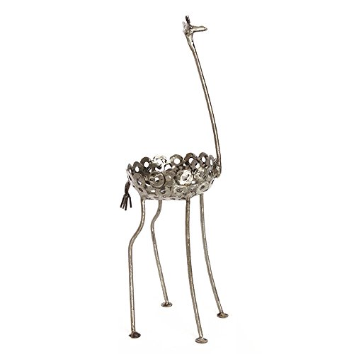 African Recycled Metal Giraffe Plant Holder Statue, Small (Recycled Statues)