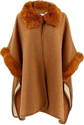 Charleselie94 - Cape Manteau Grande Taille Laine Fourrure Camel Ruby Camel Camel