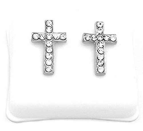 Pave Platinum Cross - Mens Platinum Tone Cz Micro Pave Iced Out Hip Hop Smooth Cross Stud Earrings Bullet Backs