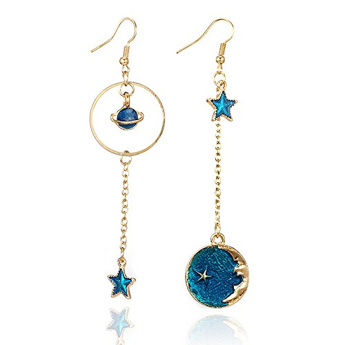 , Fashion Blue Star Moon Earth Planet Drop Earrings Hook Earrings Long Pendant Dangle Earrings Jewelry Woman Girls ()