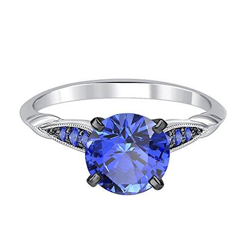 Silvergemking 7 Stones Solitaire Wedding Ring 14K White Gold Fn Silver 1.52Ct Round Cut Tanzanite CZ - Cut Tanzanite Solitaire