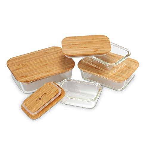 (Nummyware Plastic-free Glass Food Containers with Sustainable Bamboo Tops (Set of 4: 370mL, 640mL, 1040mL, 1520mL))