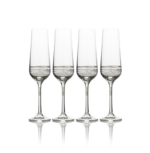 Mikasa Electric Boulevard Platinum Champagne Flute, 8-Ounce, Set of 4 (Champagne Glass Platinum)