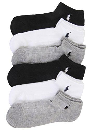 Ralph Lauren Low-Cut Sport Socks 6-Pack, One Size, Black/Grey/White (Ralph Lauren Sport)