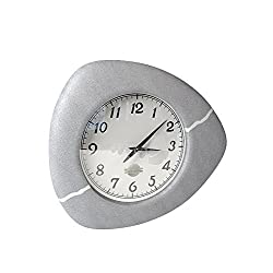 Sandstone Collection Designer Series Small Clock, BP-0090-8-LG, Light Gray Quiet, Quartz Battery Operated, Easy Read 6 Inch Clock for Home, Kitchen, Bath, Office. Includes Sawtooth Wall Mount