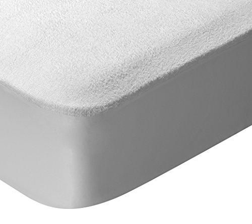 Pikolin Home - Protector de colchon rizo, 100% algodon, impermeable y transpirable, 135x190/200cm-Cama 135(Todas las medidas)