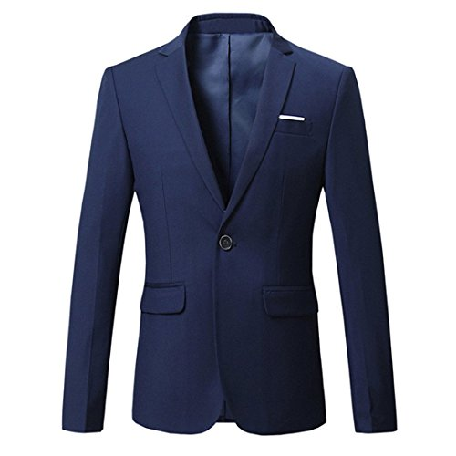 Jearey Mens Blazer Casual Slim Fit Lapel Suit Jacket One Button Daily Business Dress Coat (Navy, XX-Large) by Jearey (Image #1)